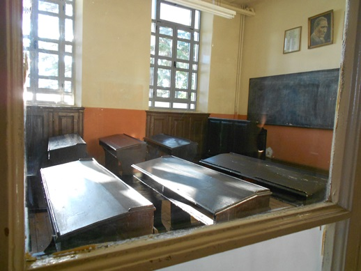 An empty classroom in the Greek Orthodox Halki Seminary near Istanbul, closed by the Turkish government since 1971.
