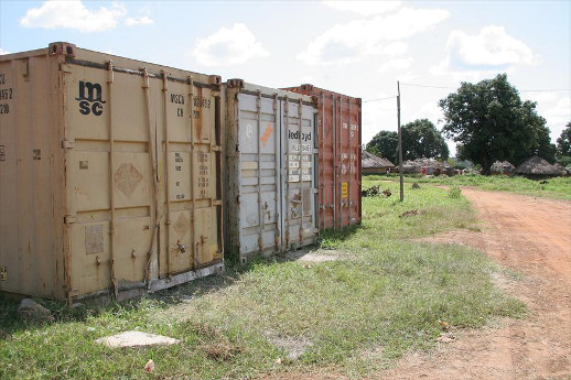 Shipping containers, such as these photographed in South Sudan, are used as makeshift prison cells in neighbouring Eritrea. Wehazit Berhane Debesai died during the week of Oct. 14 in an Eritrea prison, though it was not reported if she was being held in a shipping containter.