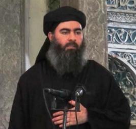 Islamic State-appointed Caliph, Abu Bakr al-Baghdadi, delivering a sermon in Mosul, Iraq July 2014