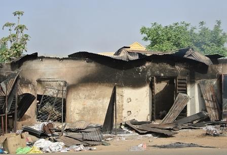 Aftermath of Boko Haram attack in Michika, Nigeria. Fev. 2014