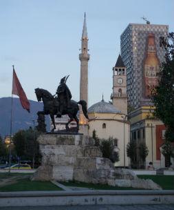 The statue of Albanian national hero Skanderbeg in central square, Tirana.