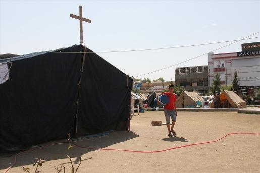 Refugee camp next to St. Elia Church in Erbil, Iraq.
