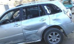 Fr. Karas's car was smashed during the violence.