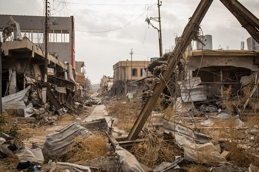 The liberated town of Bartella in the Nineveh Plains, 21km east of Mosul, is today a picture of destruction.