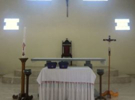 Altar of the Stasi Kinali Catholic Church, West-Sumatra, Indonesia, which was attacked in May 2014. (Photo: World Watch Monitor)