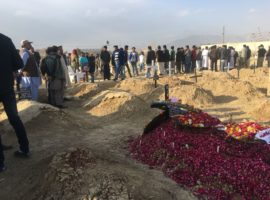 Burial of victims of a suicide attack on the Methodist Bethel Church in Quetta, Pakistan, on Sunday 17 December 2017 in which at least 9 people were killed. (Photo: World Watch Monitor)