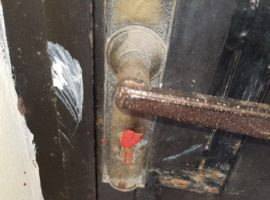 The key hole of a closed down church in Algeria is sealed with wax. (Photo: World Watch Monitor)