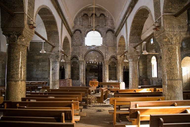 A church in Bartella, a town near the Iraqi city of Mosul, after Islamic State militants left the area in October 2016. (Photo: World Watch Monitor)